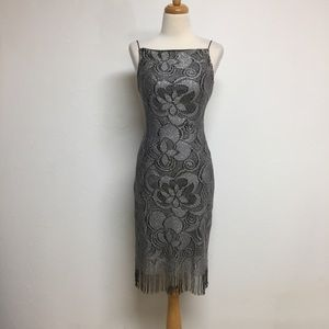 California Concepts Low Back Lace Fringe Dress